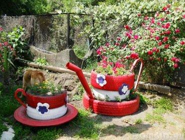 Поделки дачные из шин для сада и детской площадки