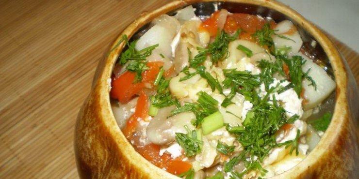 Картофель с грудкой и грибами