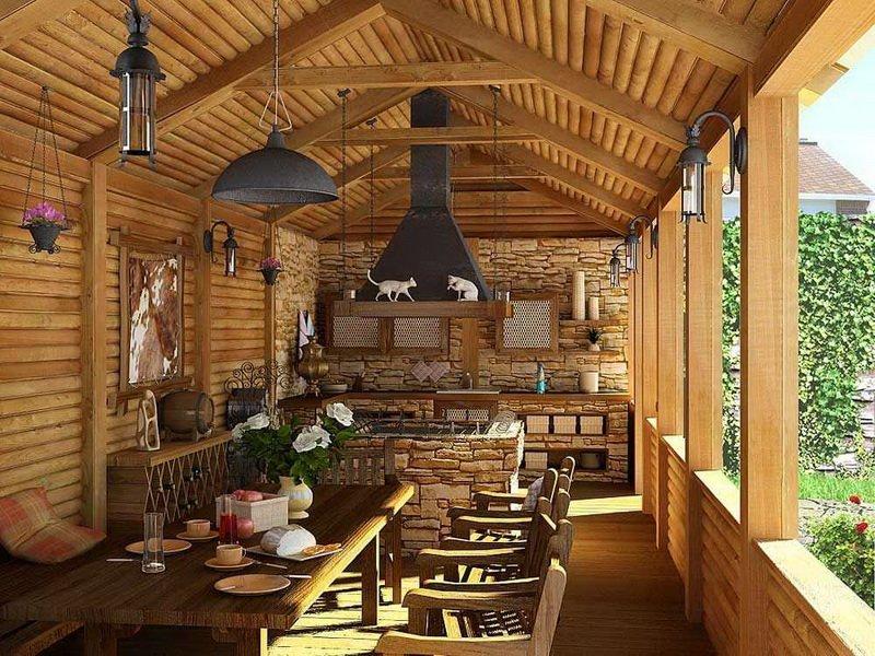 Летняя кухня деревянная