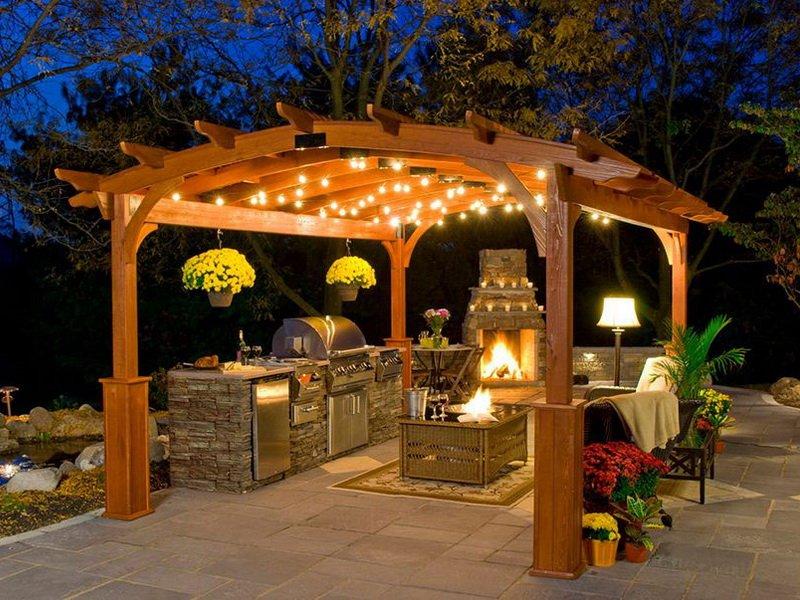 Виды открытой летней кухни