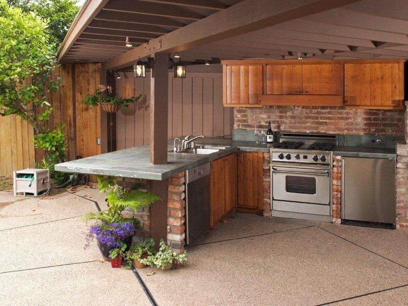 летняя открытая кухня на даче фото