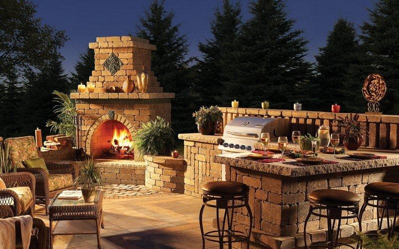 Летняяя кухня открытого типа на фото