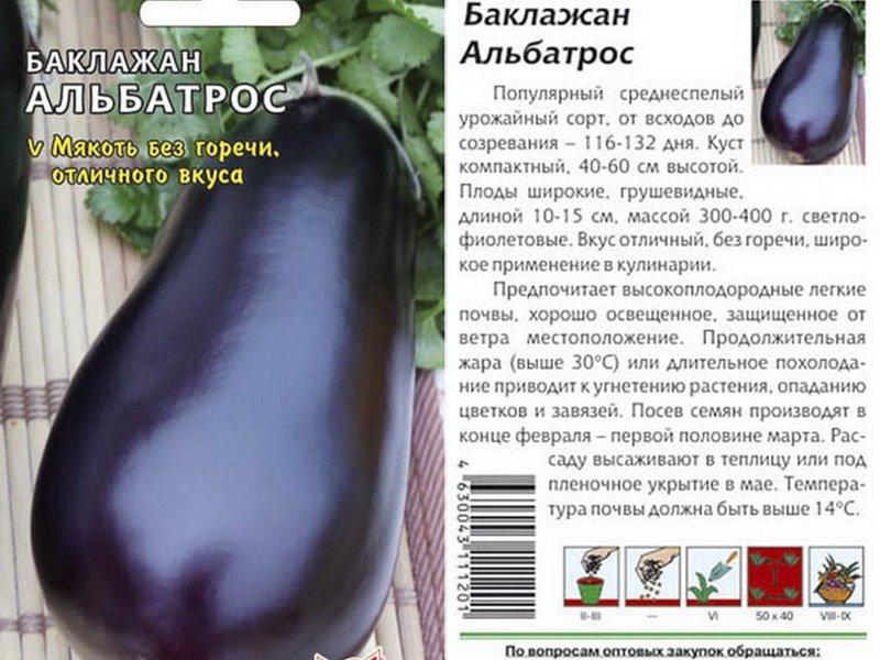 Семена баклажана «Альбатрос» на фото