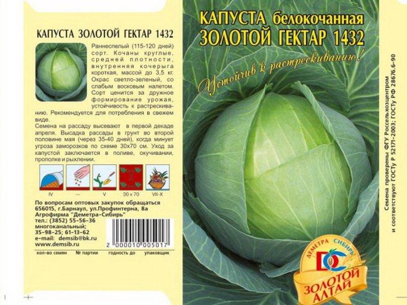 Семена белокочанной капусты «Золотой гектар 1432» на фото