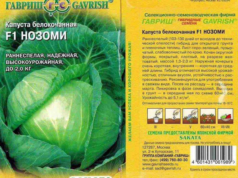 Семена белокочанной капусты «Нозоми» F1 на фото