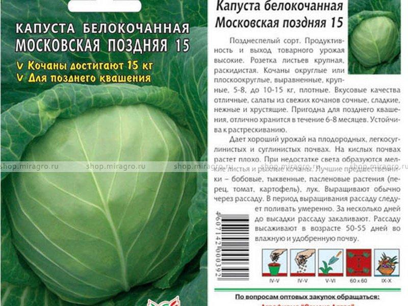 Семена белокочанной капусты «Московская поздняя» на фото