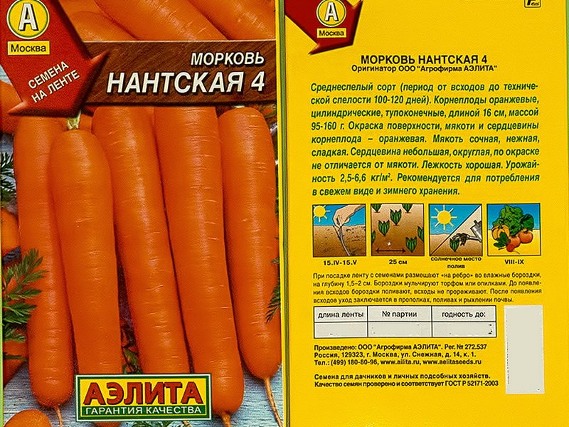 Семена моркови «Нантская 4» на фото