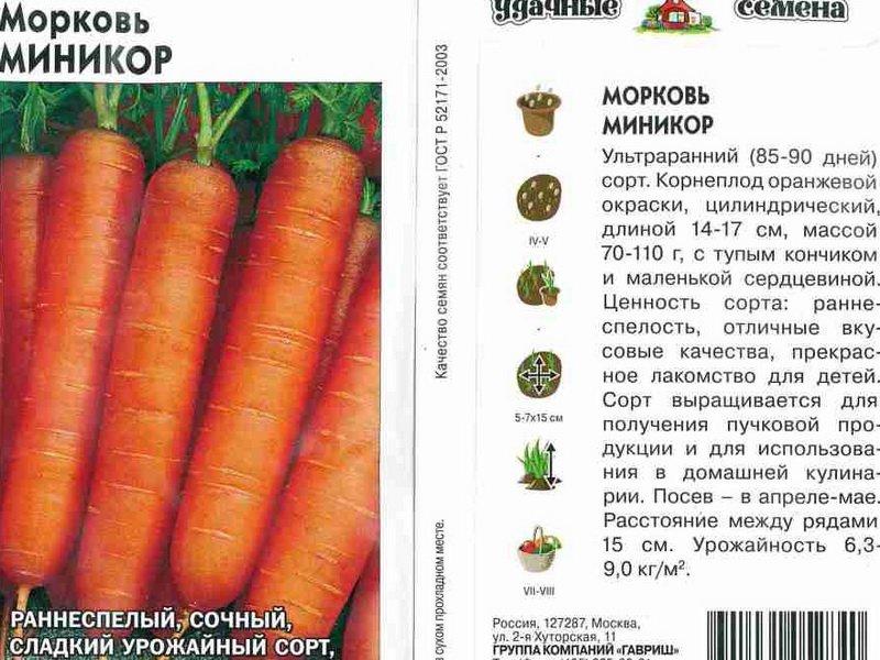 Семена моркови «Миникор» на фото
