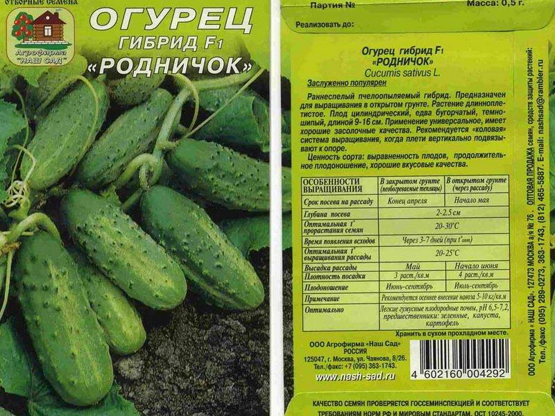 Семена огурца «Родничок» F1 на фото