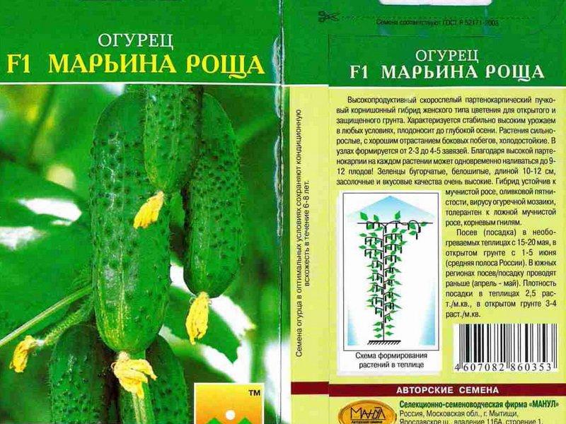 Семена огурца «Марьина роща» на фото