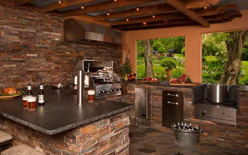 Кухня на даче отделанная кирпичом (фото)