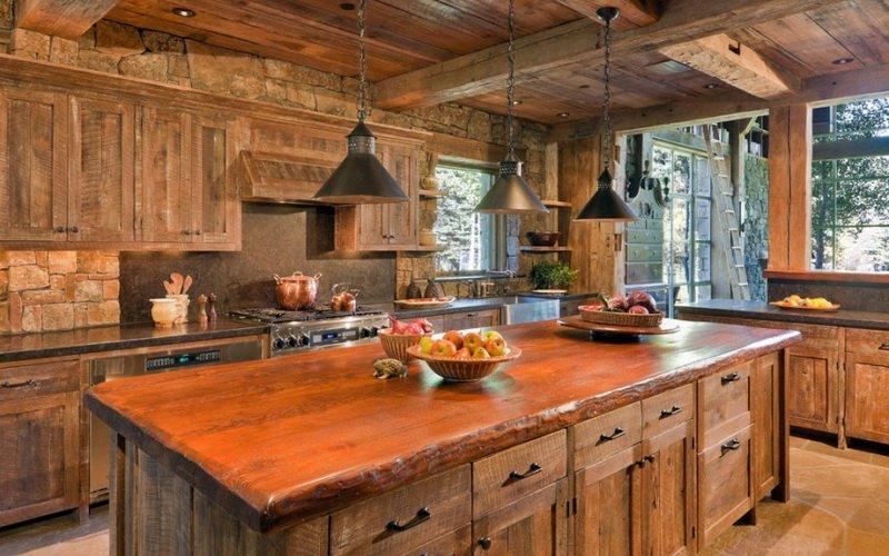 Кухня на даче отделанная деревом (фото)