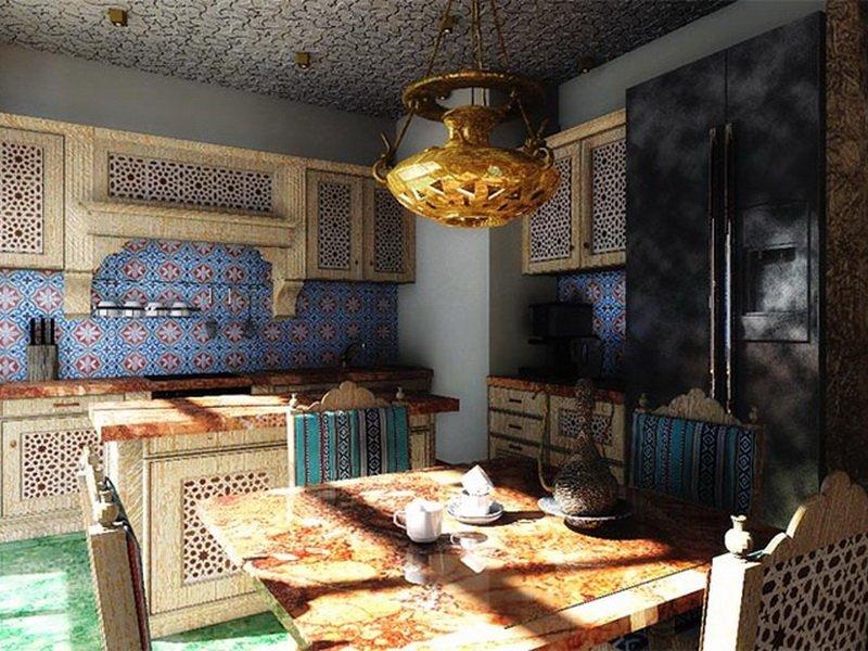 Дизайн летней кухни в восточном стиле на фото