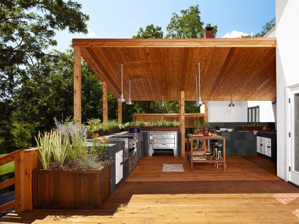 Отделка и дизайн интерьера летней кухни в частном доме и на даче (с фото)