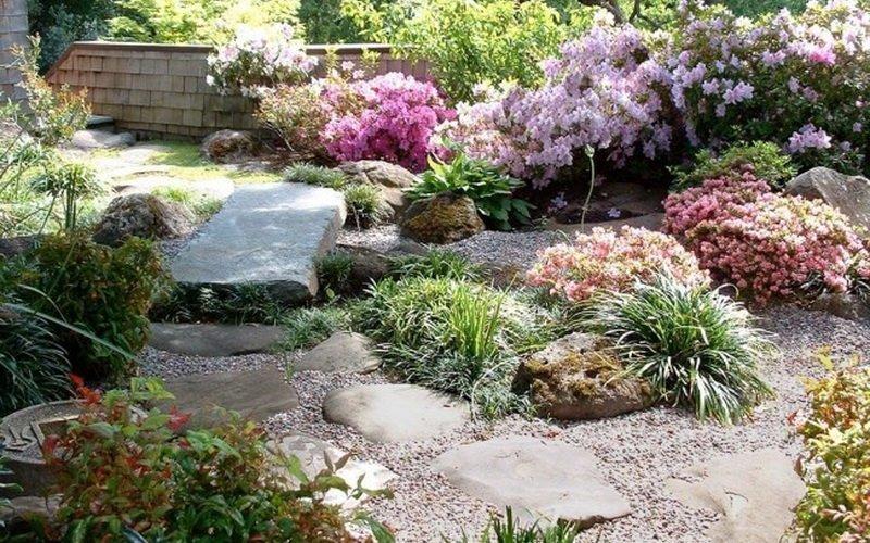 Украшение сада камнями и фото рокариев разных видов фото