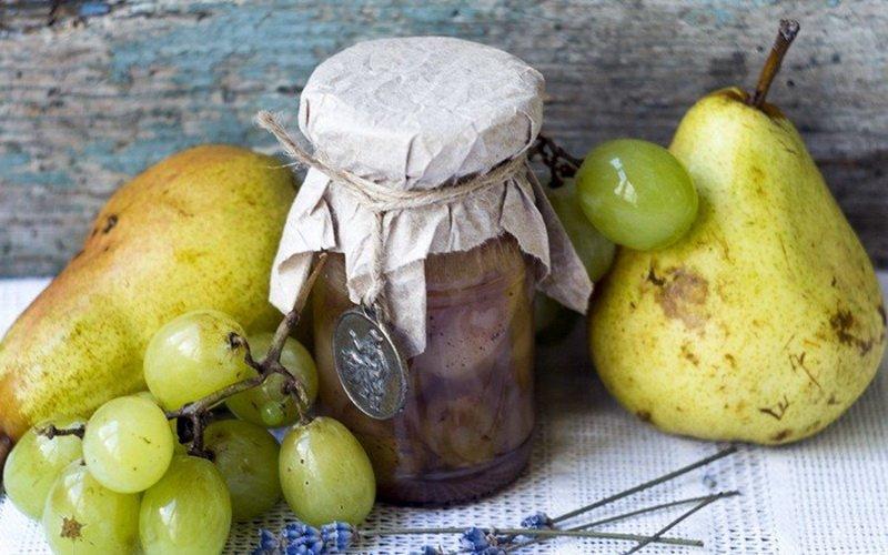Варенье из груш с виноградом и лавандой.
