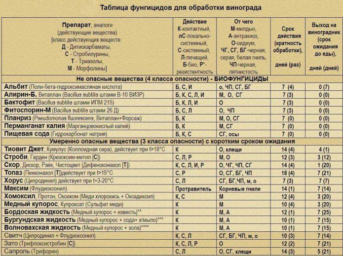 Таблица для обработки культуры фунгицидами