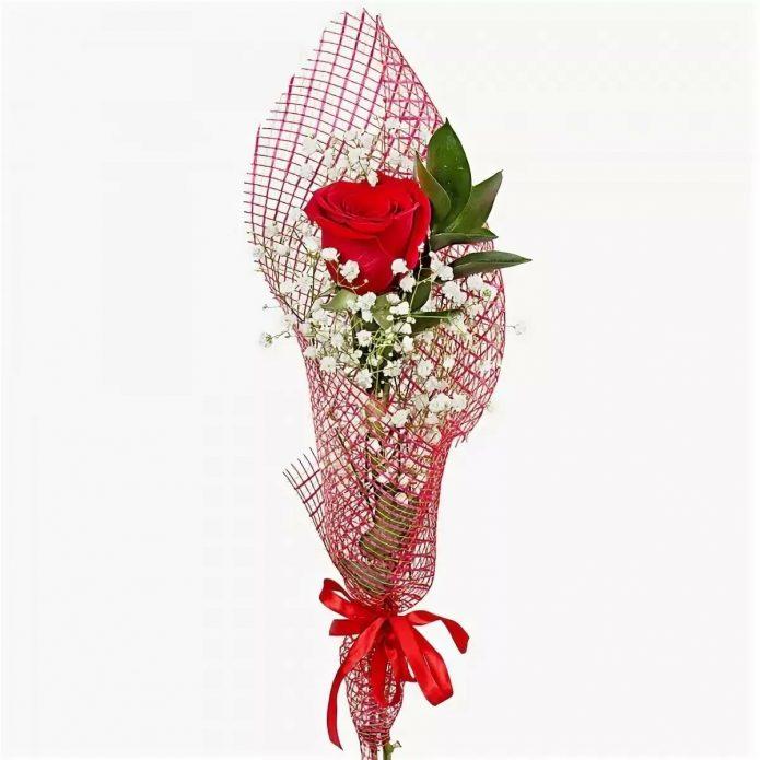 Красная роза в упаковке