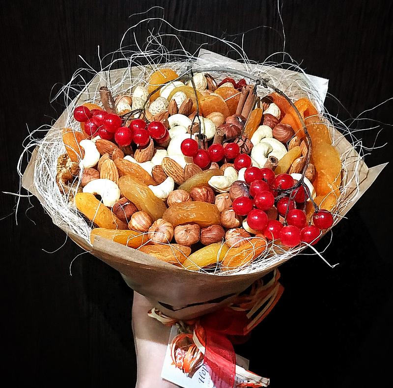 Букет из орехов и сухофруктов своими руками: как сделать, пошаговые инструкции и фото