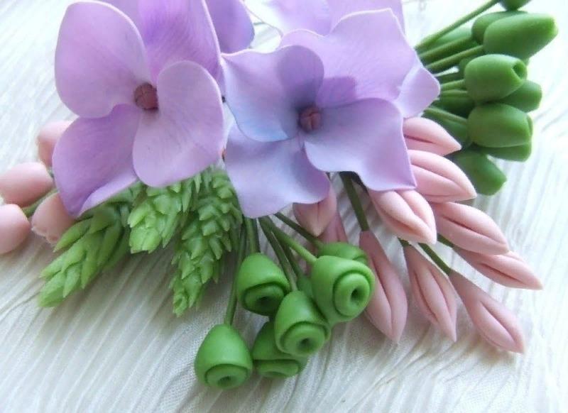 Цветы, выполненные в технике холодного фарфора