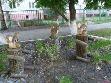 Поделки из дерева своими руками на участке детского сада